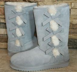 New! Koolaburra By UGG Womens Tall Bow Winter Boots 12 Gray