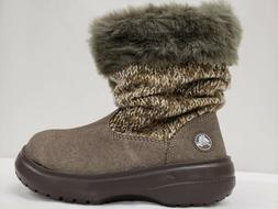 New Crocs Women's Cozy Crocs Winter Boots, Fur, Brown, Black