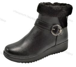 New Women's Winter Boots Buckle Fashion Zipper Ankle Warm Fu