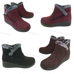 New Women's Winter Boots Fashion Zipper Ankle Warm Fur Lined