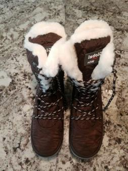 NEW Womens Brown Global Win Winter Boots Size 7