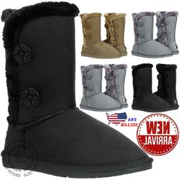 New Womens Button Faux Fur Boots Suede Mid Calf Snow Winter