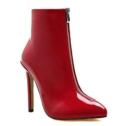 T-JULY Women Patent Leather Boots Fashion Pointed Toe High B