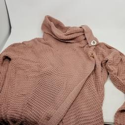 pink sweaters casual cowl neck chunky cable