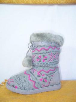 snowflake snow boots juniors gray pink misses