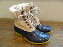 Sperry Top-Sider  Leather Shearwater Boots womens 7 blue nat