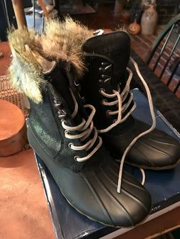 sperry top sider white water black boots
