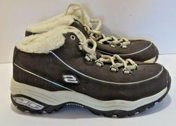SKECHERS Sport Ankle Boots Faux Fur Lined Youth Suede Brown