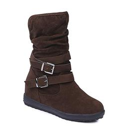 T-JULY Women Winter Casual Brand Warm Shoes Buckles Snow Scr