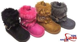 Toddler Kids Infant Winter Casual Warm Faux Fur Suede Boots