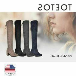 TOETOS Women Boots Winter Ladies Mid Over The Knee High Stre
