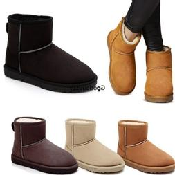 Unisex Winter Boots Mens Womens Faux Fur Suede Mid Ankle Cal