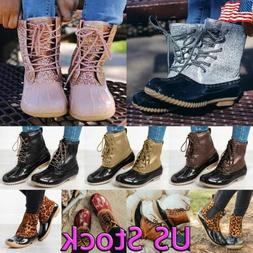 US Women Duck Boots Ankle Strap Glitter Waterproof Snow Wint