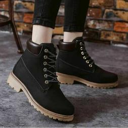 US Women's Work Ankle Boots Winter Punk Shoes Leather Outdoo