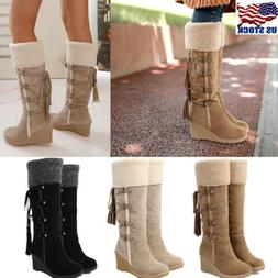 US WOMEN WINTER FUR FURRY KNEE HIGH BOOTS LACE UP WEDGE HEEL