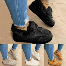 US Womens Fur Lined Slippers Winter Snow Flat Boots Suede An