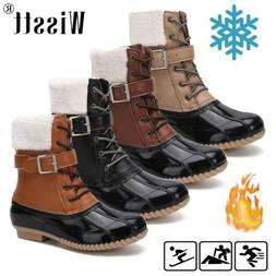 US Womens Waterproof Duck Boots Lace Up Outdoor Hiking Snow