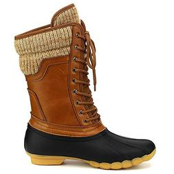 ShoBeautiful Women's Waterproof Duck Boots Rubber Two Tone M