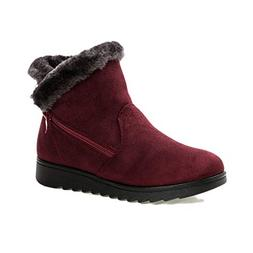 York Zhu Women's Winter Boot,Calf Flat Heel Side Zipper Slou