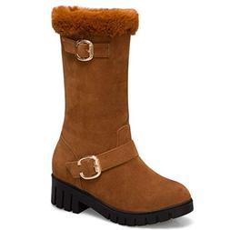 Women's Winter Warm Snow Boots Slip-on Suede Leather Plush O