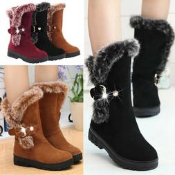 Winter Women Ladies Snow Boots Fashion Fur Warm Buckle Casua