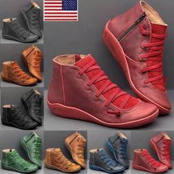 Women Ankle Boots ARCH SUPPORT Suede Stitch Winter Shoes Fla