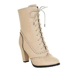 COPPEN Women Boot Winter Classic Pointed Leather Lace-Up Hig