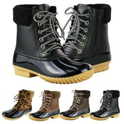 Women's Waterproof Insulated Duck Boots Lace Up Zip Snow Rai