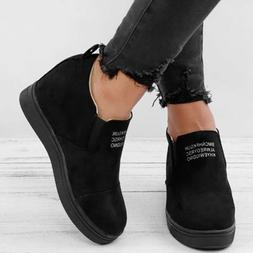 Women Fashion Ankle Length Winter Boots Round Toe Slip On Ty