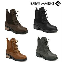 DREAM PAIRS Women Winter Combat Boots Faux Leather Classic R