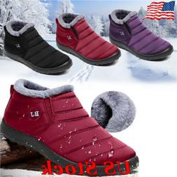 Women Fur Lined Slip On Snow Winter Warm Ankle Boots Shoes W