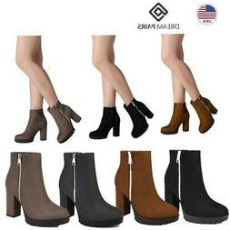 DREAM PAIRS Women Ladies Ankle Boots Suede High Heel Zipper