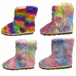 Women Lady Colorful Faux Fur Mukluks Rainbow Winter Fluffy S