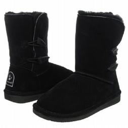 BEARPAW Abigail Black Women's Winter Boots Leather Pull On W