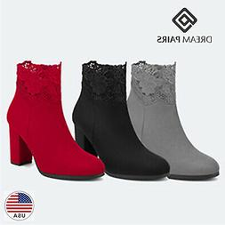 DREAM PAIRS Women's Chunky High Heel Suede Ankle Booties War