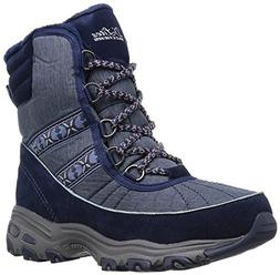 Skechers Women's D'Lites-Chateau-Lace up Winter Boot,Navy,7