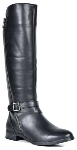 TOETOS Women's Donna Black Knee High Winter Riding Boots Wid