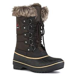 DREAM PAIRS Women's DP-Canada Brown Faux Fur Lined Mid Calf
