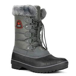 DREAM PAIRS Women's DP-Canada Grey Faux Fur Lined Mid Calf W