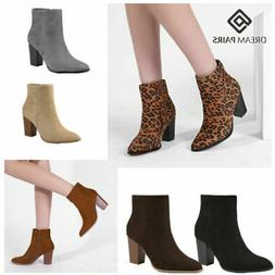 DREAM PAIRS Women Suede Winter Block Heel Ankle Boots Pointe