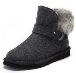 Bearpaw Koko Women's Slipper Boots Gray Pull On Wool Sheepsk