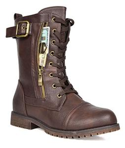 DREAM PAIRS Women's Mission Brown Combat Mid Calf Boots Size