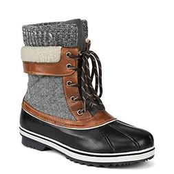 DREAM PAIRS Women's Monte_01 Black Grey Mid Calf Winter Snow