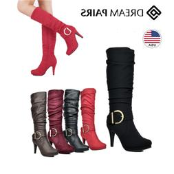 DREAM PAIRS Women Soft faux fur lining Knee High High Platfo