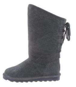 Bearpaw Phylly Womens Winter Boots Gray Pull On Leather Wool