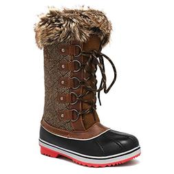 DREAM PAIRS Women's River_1 Brown Mid Calf Winter Snow Boots