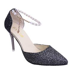 Cenglings Women's Sexy Pointed Toe Sequin Pumps Buckle Stile