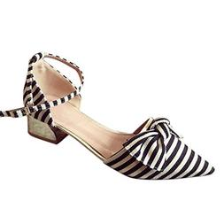 Cenglings Women's Sexy Pointed Toe Stripe Print Sandals Shal