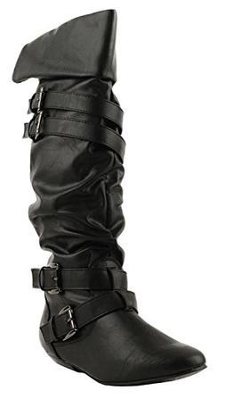 women s slouchy buckle strap knee high