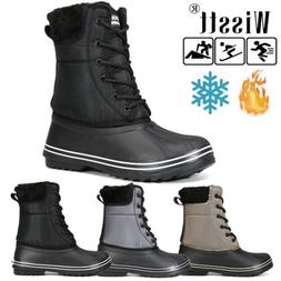 Wisstt Women's Waterproof Rubber Warm Hiking Snow Rain Lace